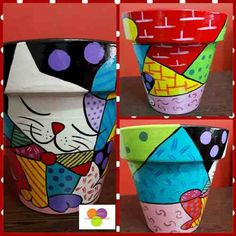 Pin on macetas pintadas a mano Flower Pot Art, Flower Pot Design, Clay Flower Pots, Flower Pot Crafts, Clay Pot Crafts, Clay Pots, Painted Plant Pots, Painted Flower Pots, Clay Pot People