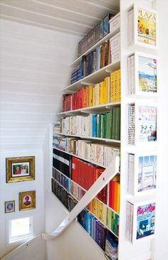 Built-in bookcase in stairway