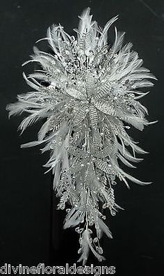 STUNNING BESPOKE CRYSTAL & FEATHER BRIDAL BOUQUET - ANY COLOUR ![Champagne]