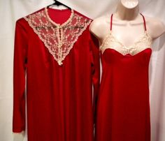 Vintage Peignoir Set Stardust Red Long Nightgown Button Robe Nylon Lace Small  #Stardust