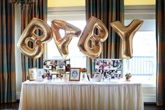 Shiny Gold Baby Balloon Set: Letters Mylar Balloons for Unique and Stylish Party Decoration for Baby Shower, Birthdays, Anniversaries and Any Event Or Celebration, for Boys and Girls Baby Shower Parties, Baby Boy Shower, Sophisticated Baby Shower, Book Infantil, Unique Baby Shower Themes, Baby Balloon, Gold Baby Showers, Mylar Balloons, Boy Decor