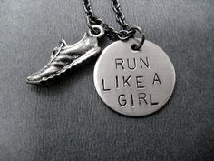 RUN LIKE A GIRL Round Pendant with Running Shoe - Running Necklace - Running Jewelry - Hand stamped 18 inch gunmetal chain - Running Girl