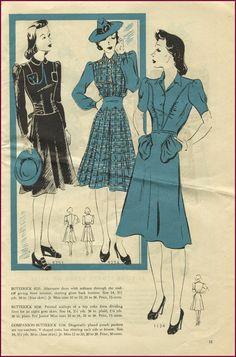 Lovely 1940s Butterwick fashions. #CatalogSunday