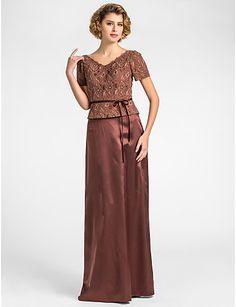 schede / column v-hals vloer-lengte kant en stretch satijn moeder van de bruid jurk - EUR € 148.49