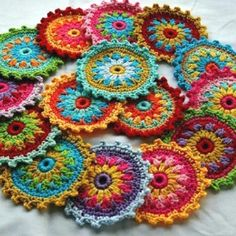 Love these colorful crocheted rounds!! Found on Etsy!