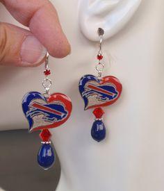 Buffalo Bills Earrings, Bills Bling, Blue Pearl, Red Crystal Earrings, Pro Football Bills Jewelry Accessory Fanwear by scbeachbling on Etsy