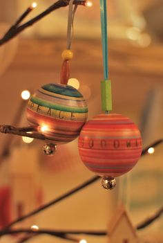 Beautiful wood turned baubles by Sarah Lock. Peace and Goodwill
