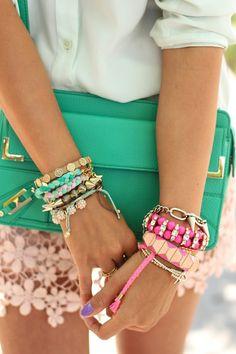Bracelets + bag.