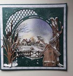 Weer eens een gewone vierkante kaart gemaakt. Heb een kaart van 15 x 15 cm gesneden van groen/blauw cardstock. Daarop van designpapier een vierkant van 14,5 x 14,5 cm en daarop de mal van metalic g… Company Christmas Cards, Christmas Card Crafts, Christmas Cards To Make, Christmas Tag, Christmas Lodge, Beautiful Christmas Cards, 3d Cards, Marianne Design, Winter Cards