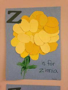 letter Z is for zinnia. Letter z. Preschool Letter Crafts, Alphabet Letter Crafts, Abc Crafts, Preschool Projects, Kindergarten Crafts, Classroom Crafts, Alphabet Activities, Toddler Crafts, Preschool Crafts
