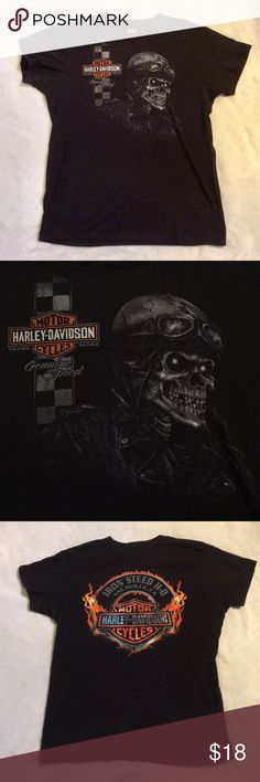 ⚡️New Item In !! Harley Davidson Men's T-shirt 🏍 Gently worn, literally only worn once, maybe twice. Men's Harley Davidson T-shirt, Black, size L. Front has small Harley logo with a faded looking skeleton wearing a leather jacket & old school helmet & goggles. The back has the Harley logo surrounded by flames from Vacaville, California Harley dealership 🔥 A great shirt for a Harley lover. ****Free gift with purchase !! Harley-Davidson Shirts Tees - Short Sleeve