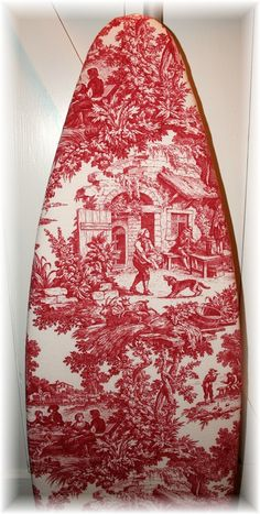 english country toile ironing board cover...we have an antique wooden ironing board that I plan to cover this way...it will look good in the little cottage laundry room...like it but in green