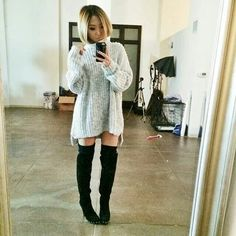 Sweater and high knee boots