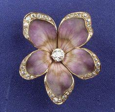Art Nouveau 14kt Gold, Enamel and Diamond Pansy Pendant/Brooch