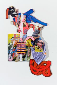 Skewgallery.com opening this Thurdsay:  Will Murray  Other Guys Named Like Me Won't Know What To Do When The Knifefight Goes To The Ground?  2011  Acrylic Weaving Collage on Board  40 X 68 X 7  <	  1  >