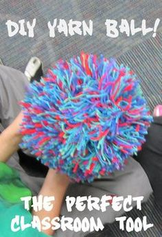 Step-by-step process of how to make a yarn ball for your classroom!  Cool DIY!  Such an amazing thing to have in your room and use all the time.  Also options on this page to buy a yarn ball if you want.