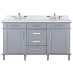 Home Decorators Collection Sonoma 60 in. W x 22 in. D Vanity in Pebble Grey with Marble Vanity Top in White with White Basin-8105300240 - The Home Depot