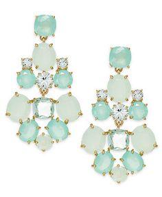 Kate Spade New York Gold-Tone Green Stone Chandelier Earrings