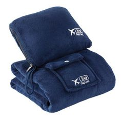 NapSac travel blanket and inflatable pillow in navy blue only here.