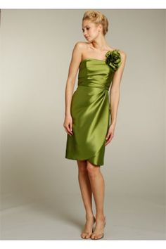 One Shoulder Strap Short Olive Green Satin Ruched Wedding Party Bridesmaid Dress With Flower
