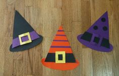 witches hat craft. Give kids assorted pieces to assemble their witches hat. Then staple to a headband.