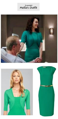 Scandal Season Finale 222: Mellie Grant's (Katie Lowes) Michael Kors green dress & cardigan #tvfashion #outfits #fashion #style