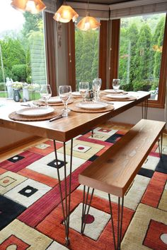 Urban Reclaimed Wood Dining Table With Hairpin Legs