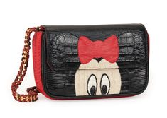 N°B1765  Hand cut and hand stitched Mini Mouse in black, white and beige crocodile and red lizard onto black lizard. Red lizard on the sides, bottom and back. Hand embroidery of beads onto 18th-century Italian black silk. Red leather inside lining.                  Taille : 21x12x6/7cm