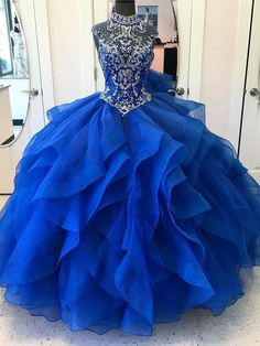 de6df94b1e7 Royal Blue Ball Gown High Neck Rhinestone Beaded Long Evening Prom Dresses