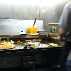Blueberry pancakes at a greasy spoon