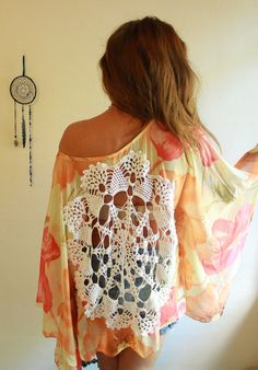 Semi Sheer Drapey Floral Flower Crochet Cut Out Print Poncho Dolman Sleeve Top Upcycled Festival/Hippie/Bohemian Layering Womens One Size
