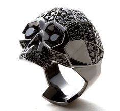 black diamond skull ring