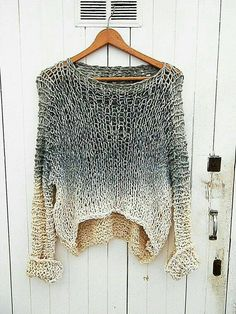 Knit cotton sweater, hand dyed tunic   jumper, unique  knitted cotton blouse