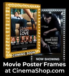 Classic retro movie poster frames with backlighting and chaser lights just like the movie theaters use! Styles with and without dater panels and chaser lighting with several finishes to choose from. Visit CinemaShop.com for details and to order. #movietheaterposterframes Movie Poster Frames, Movie Posters, Now Showing Movies, Stupid Love, Poster Display, Movie Theater, Lights, Retro, Classic