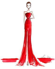 Beautiful, beautiful fashion sketches from last night's Oscar red carpet! Dress Design Sketches, Fashion Sketches, Fashion Illustrations, Fashion Drawings, Dress Designs, Oscar Gowns, Oscar Dresses, Vogue Fashion, Fashion Art