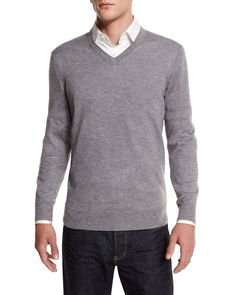 Cashmere-Silk V-Neck Sweater, Gray, Size: LARGE - Neiman Marcus