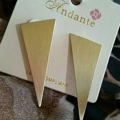 "TRIANGLE DESIGN EARRINGS Gold tone triangle design earrings measure about 2"" long. NWT Andante Jewelry Earrings"