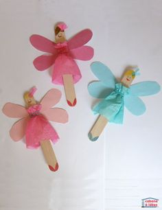 Fairies Turn popsicle sticks into beautiful fairies! This cute craft uses large popsicle sticks, tissue paper, loom bands and glue.Turn popsicle sticks into beautiful fairies! This cute craft uses large popsicle sticks, tissue paper, loom bands and glue. Crafts For Teens To Make, Bunny Crafts, Paper Crafts For Kids, Cute Crafts, Craft Stick Crafts, Art For Kids, Diy And Crafts, Craft Ideas, Craft Sticks