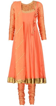 Peach and gold Salwar kameez