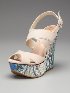 Cameron Wedge Sandal by Schutz. I love the color of the python embossed leather!
