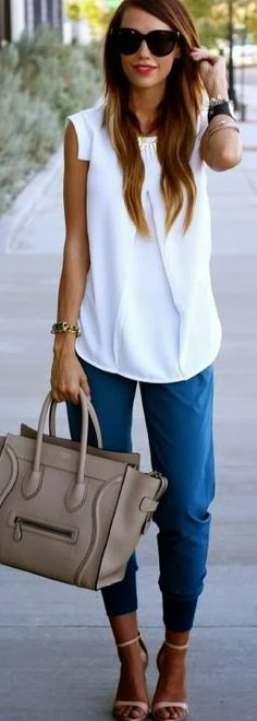 **Like this top and the fact that it is easy to throw together one top and pants. Not a fan of the jewelry, shoes, or bag. This sleeve would probably not be the most flattering on me though and I could not/would not pull of harem pants.