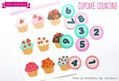 Cupcake Counting & Matching #Printable #Counting