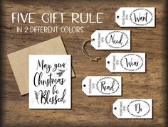 Christmas Tags & Card. 5 or 4 Gift Rule. Instant download printable. Five Four presents. Him her child kid parent friend husband wife spouse Christmas Gifts For Kids, 12 Days Of Christmas, Christmas Tag, Simple Christmas, Woodland Christmas, Christmas Ideas, 5 Gifts, Cute Gifts, Gifts For Him