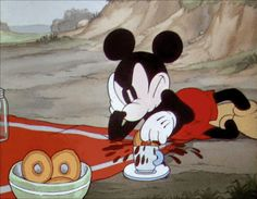 Angry donuts. Mickey's Rival (1936) gif