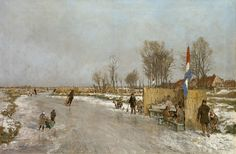 Johan Hendrik van Mastenbroek 1875-1945 Winter fun on a Dutch canal, oil on canvas 47.2 x 71.2 cm., signed l.r. and dated 1933. Collection Simonis & Buunk, The Netherlands.