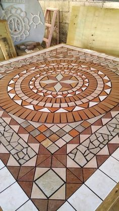 Giant floor mosaic size 6 ft x Ceramic Tile Art, Marble Mosaic, Mosaic Art, Mosaic Tiles, Mosaic Designs, Mosaic Patterns, Mosaic Walkway, Hardscape Design, Clay Pot Crafts