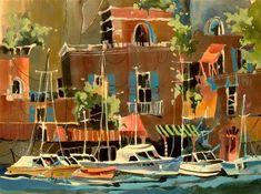 "Daily Paintworks - ""Sorrento Harbor"" - Original Fine Art for Sale - © Jinnie May"