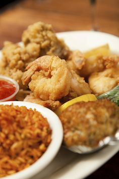Fried Shrimp, Baked Deviled Crab, Fried Oysters & Red Rice