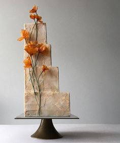 is on a roll with theses stunning square cakes. Love seeing my square stands put to such amazing use. Modern Cakes, Unique Cakes, Elegant Cakes, Wedding Cake Prices, Wedding Cake Designs, Black Wedding Cakes, Beautiful Wedding Cakes, Wedding Cake Centerpieces, Fresh Flower Cake