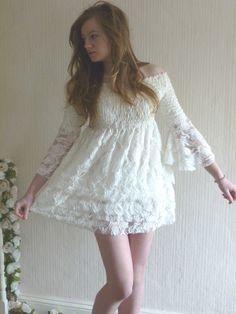 Shirred Lace Beach Wedding Dress-Ivory Cream £175.00